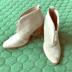 Beast Fashion Leather Point Zip Booties Suede Sz7